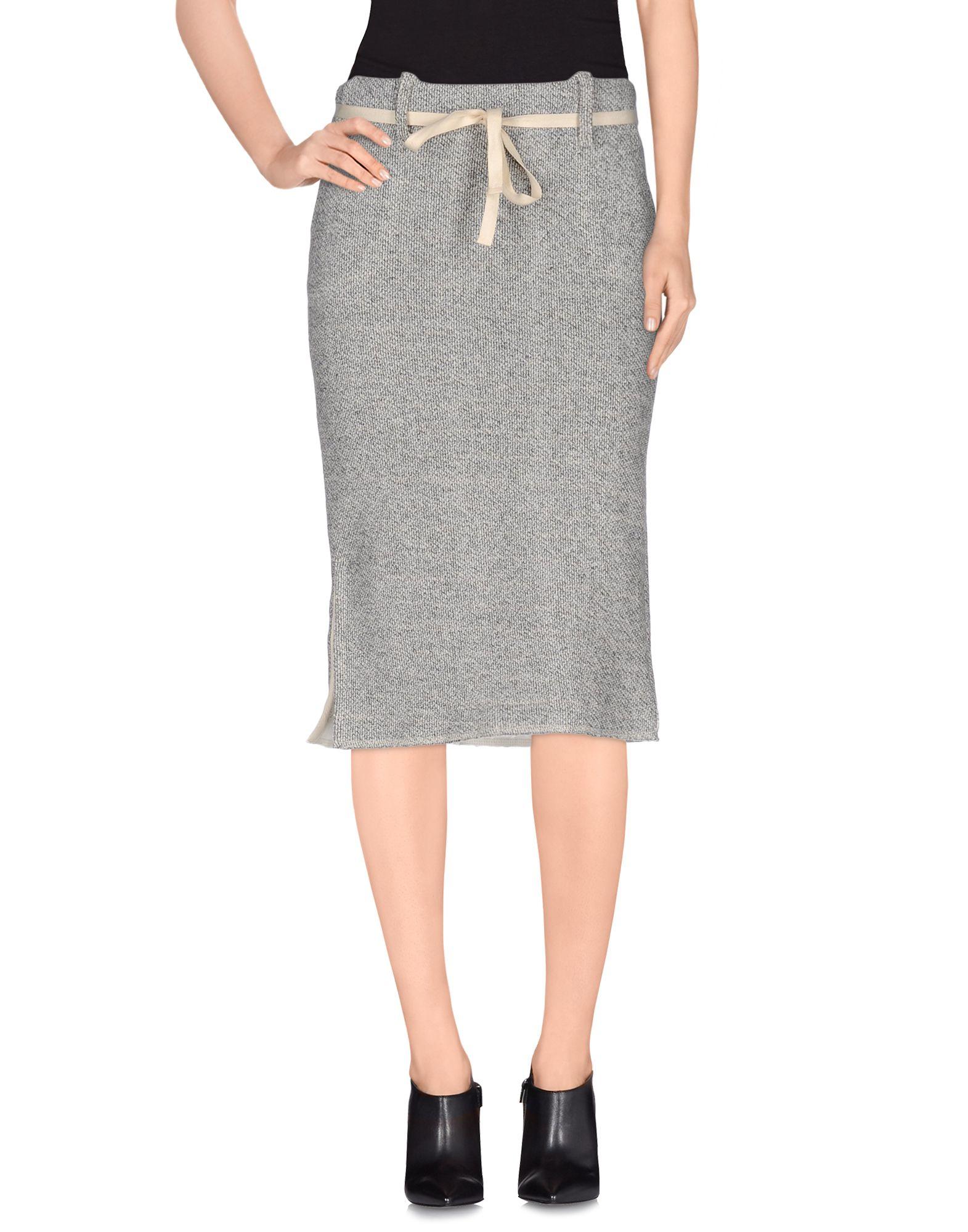 skin knee length skirt in gray lyst