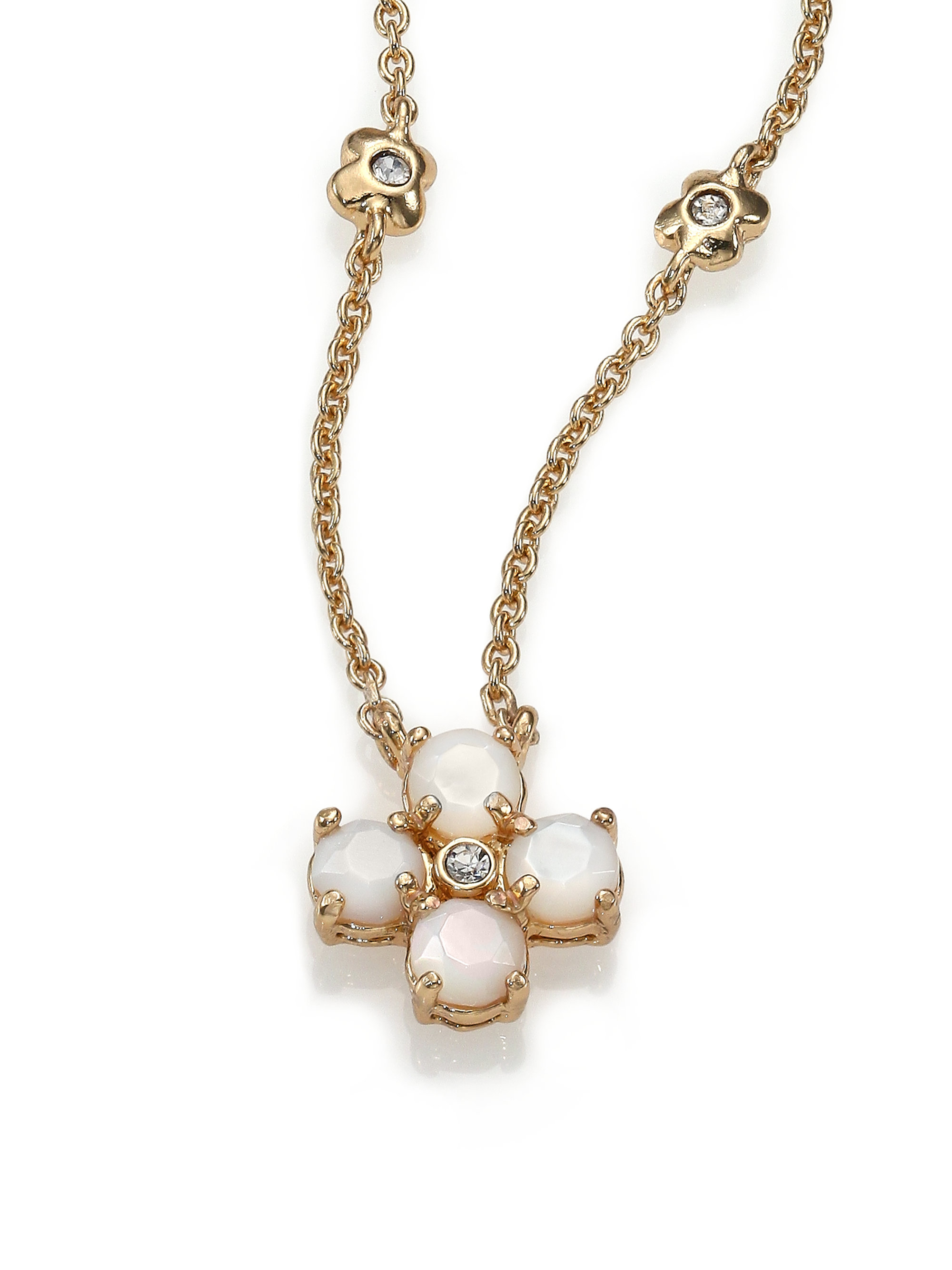 7c2cac2cc7644 kate spade new york Metallic Central Park Pansy Mother-of-pearl Mini  Pendant Necklace