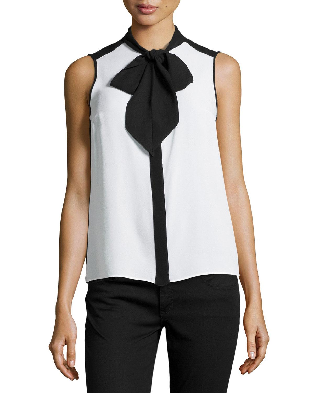 Lyst Michael Kors Sleeveless Tie Neck Blouse In Black
