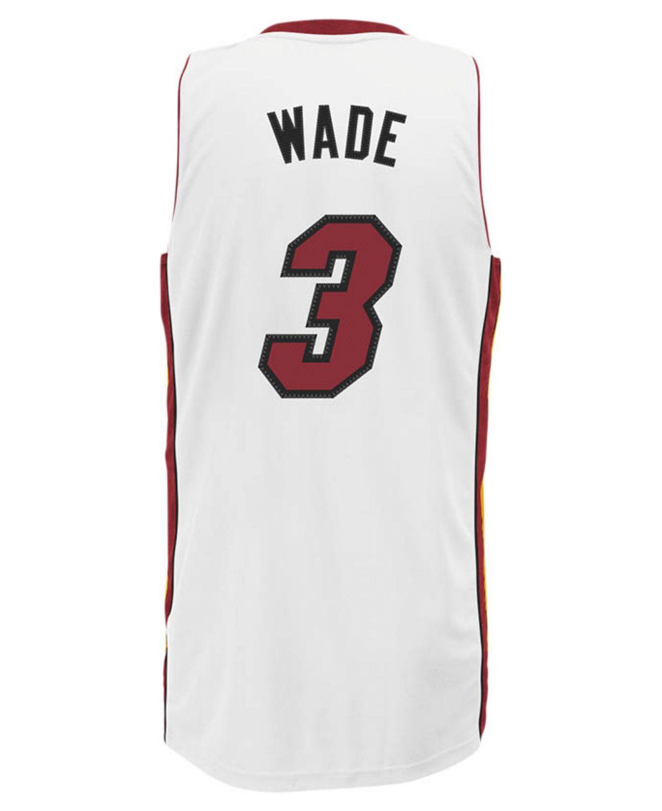 free shipping 0fb7e 14cf1 Adidas Originals White Men's Miami Heat Dwyane Wade Jersey for men