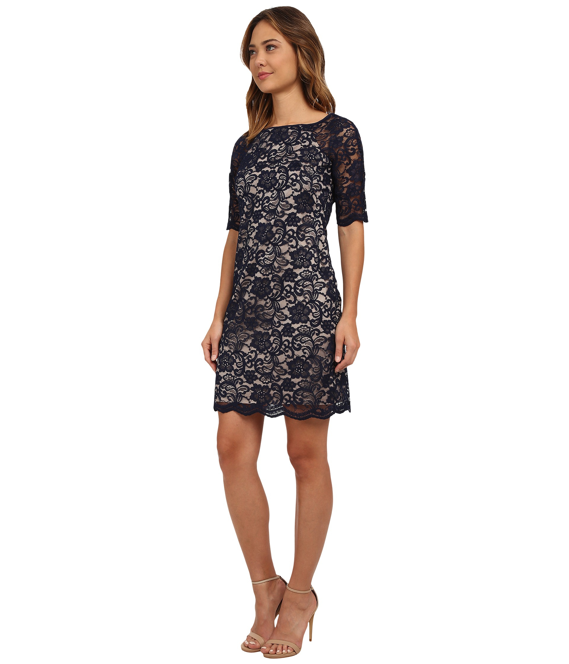 d2adc608 Vince Camuto Lace Sheath Dress in Blue - Lyst