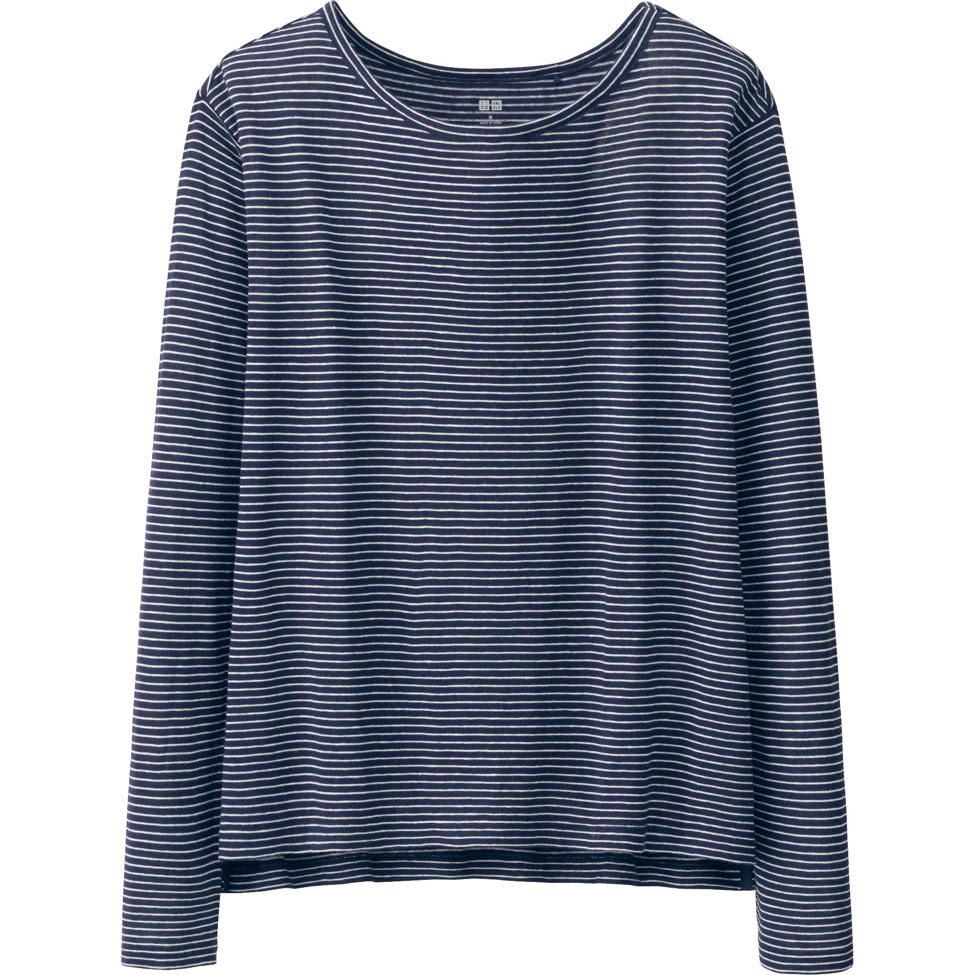 Uniqlo women modal linen long sleeve striped t shirt in for Navy blue striped long sleeve shirt