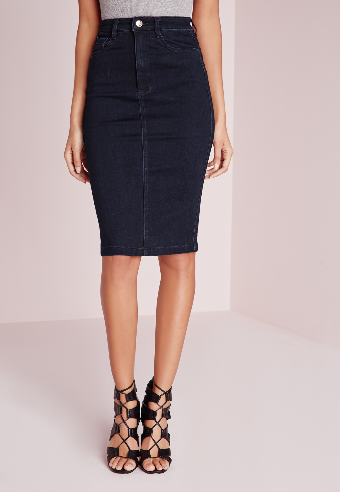 missguided high waisted midi denim skirt indigo in blue lyst
