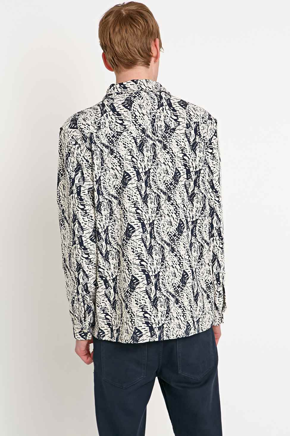 Soulland 'Kyle' Jacquard Jacket in White (Blue) for Men