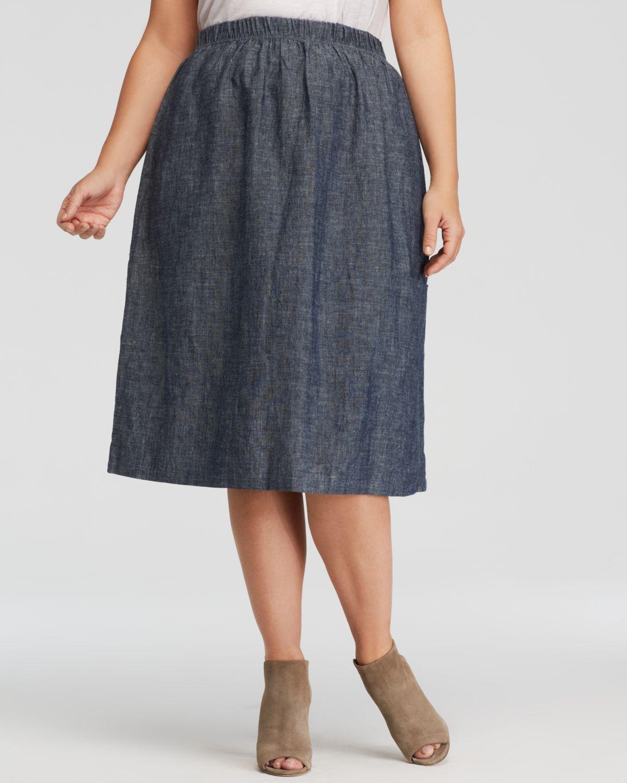 eileen fisher plus chambray midi skirt in blue denim