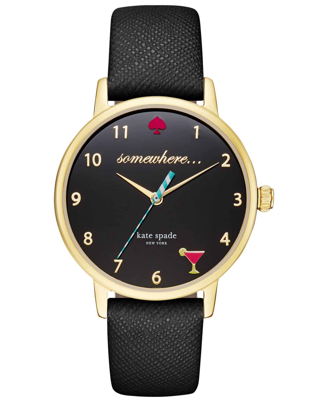 Kate spade Women's Black Leather Strap Watch 34mm Ksw1039 ...