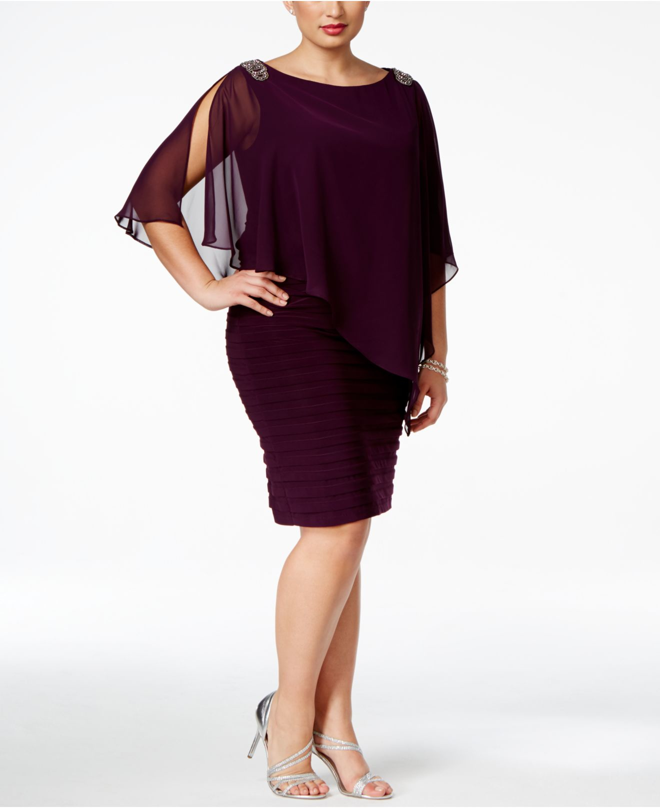 Plus Size Embellished Chiffon Overlay Dress
