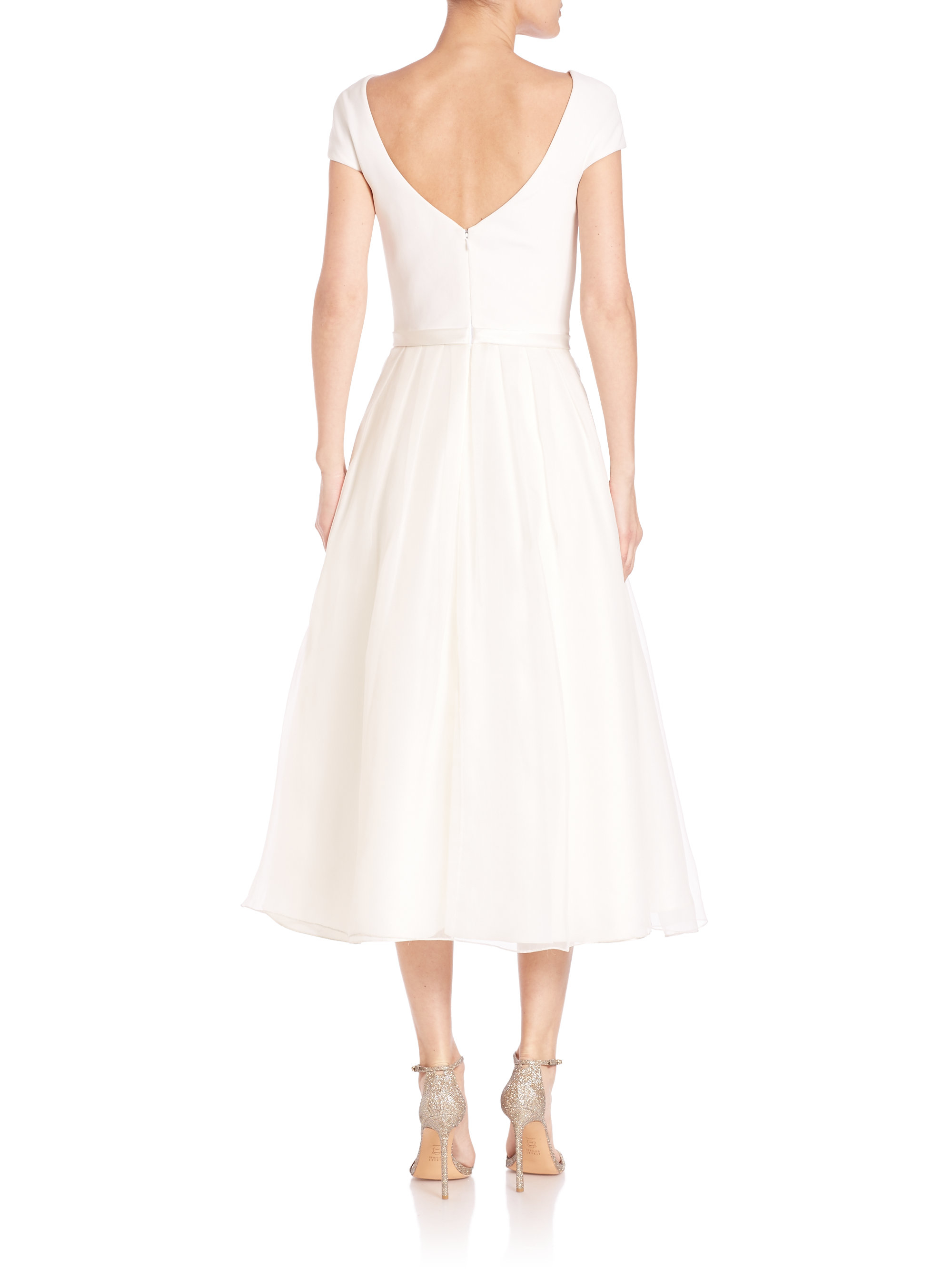 theia beaded belt tea dress in white lyst