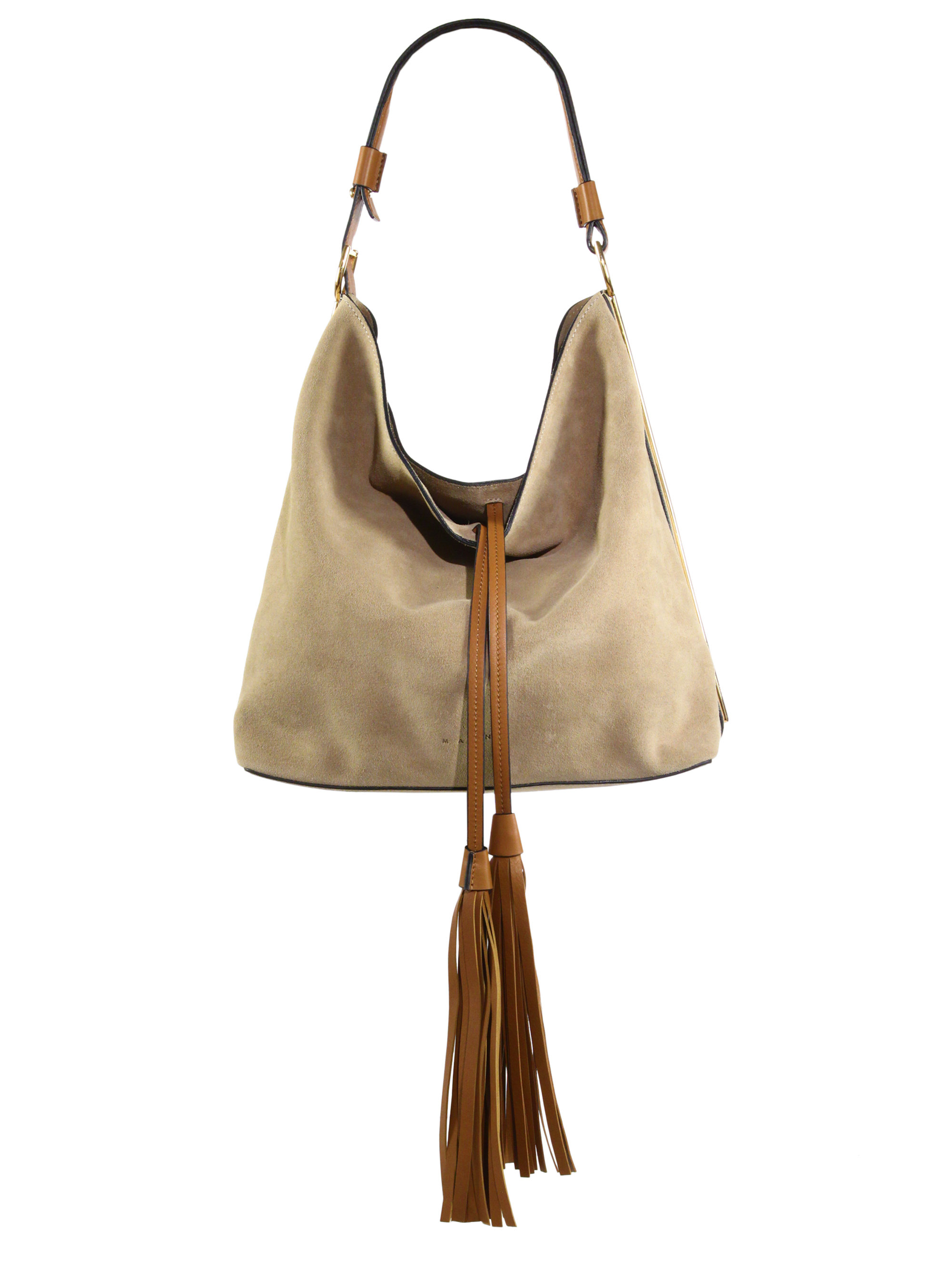 Marni Suede Hobo Bag With Tassels in Natural | Lyst