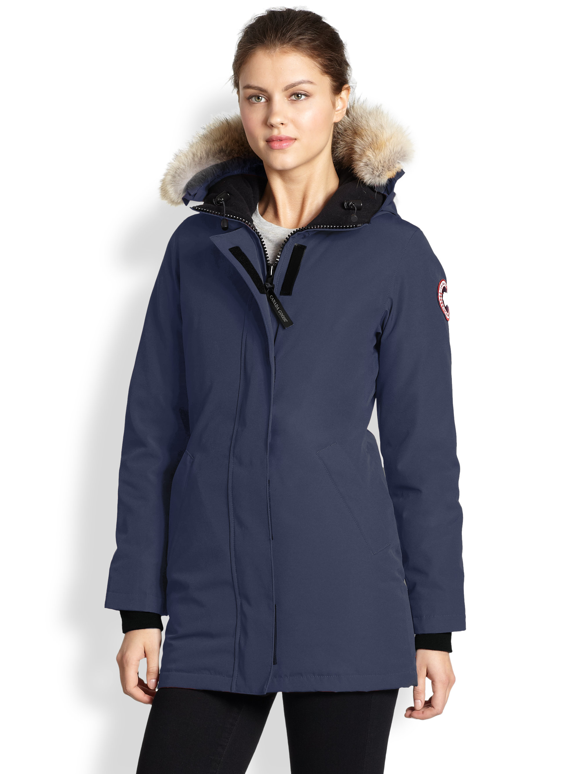 Canada Goose kensington parka replica shop - Canada goose Fur-trimmed Down-filled Victoria Parka in Blue ...