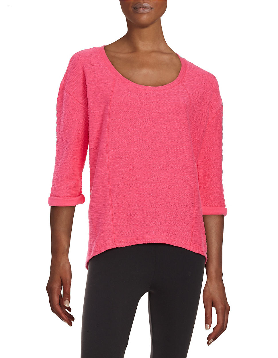 Marc new york textured performance top in pink lyst for Best dress shirts nyc