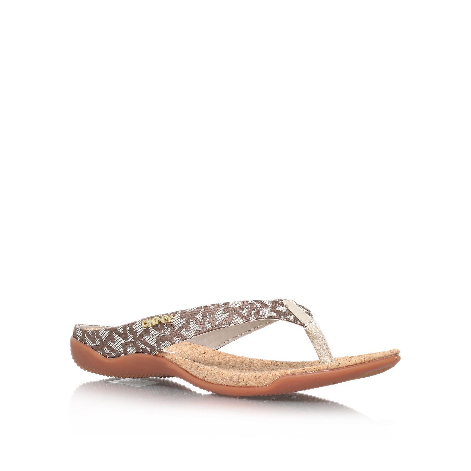 dkny sarasota thong sandal shoes in gray beige lyst