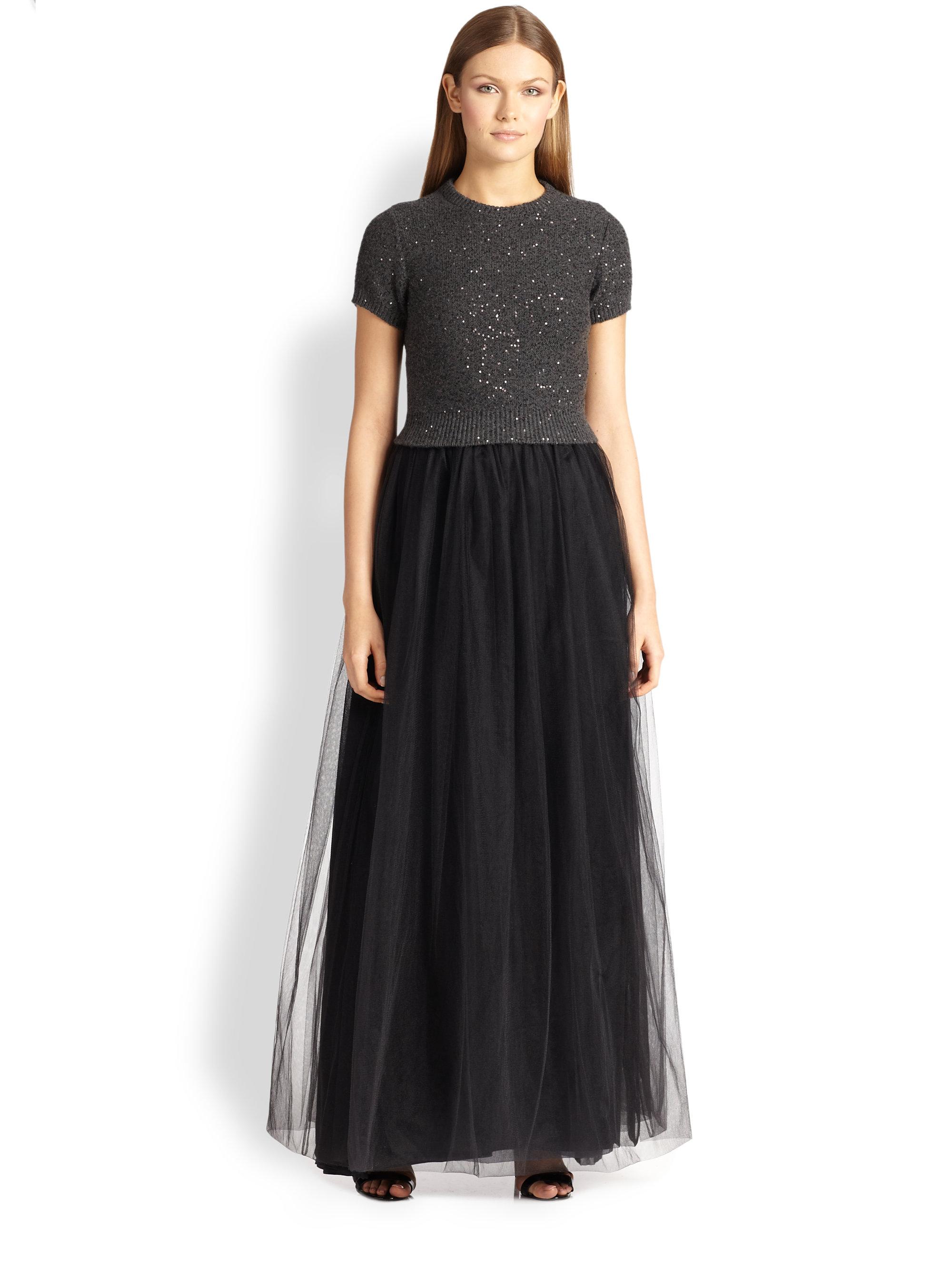 Lyst Brunello Cucinelli Cashmere Amp Silk Tulle Gown In Gray