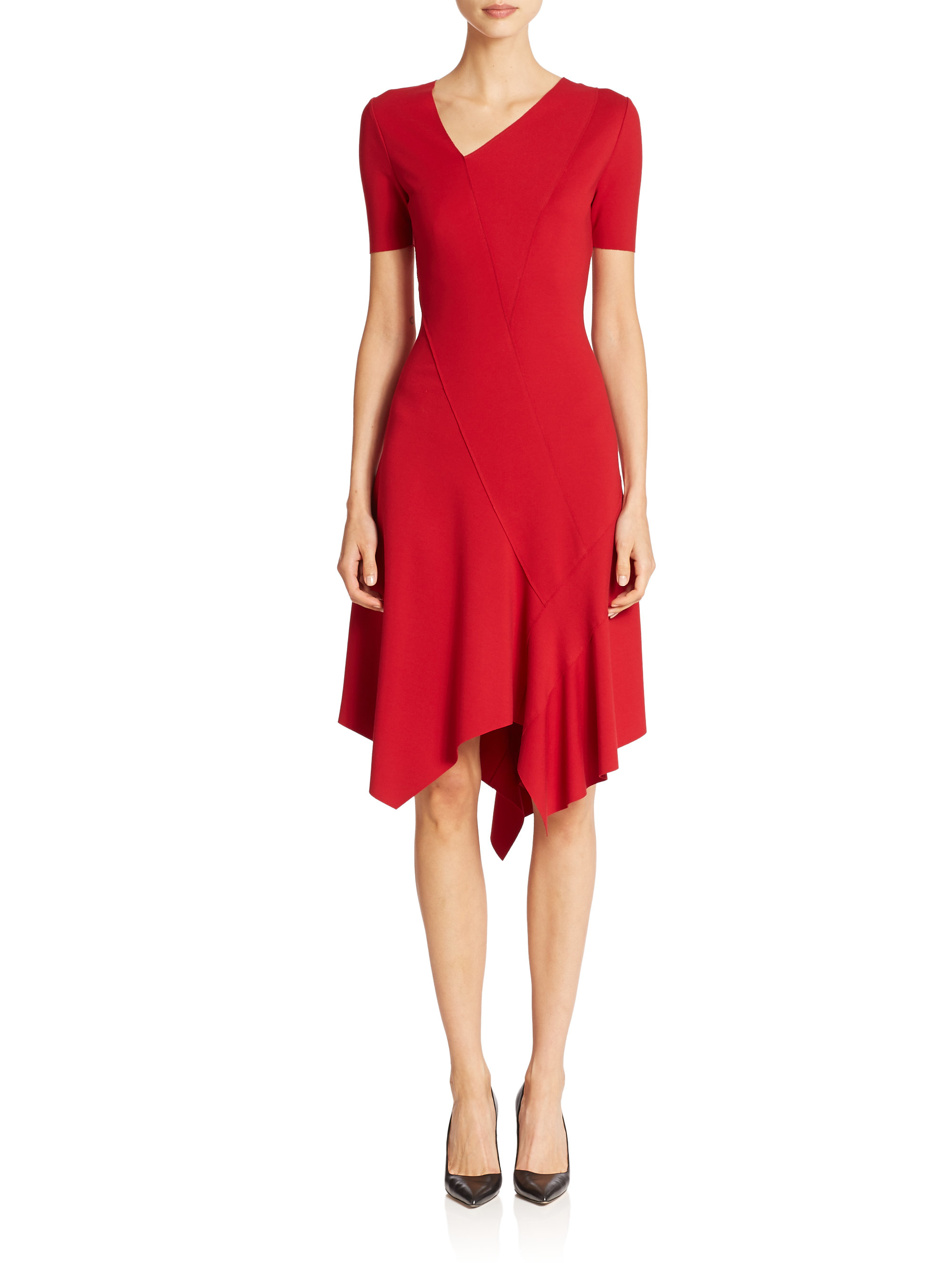 Elie Tahari Dariah Asymmetrical Dress In Red Poppy Lyst