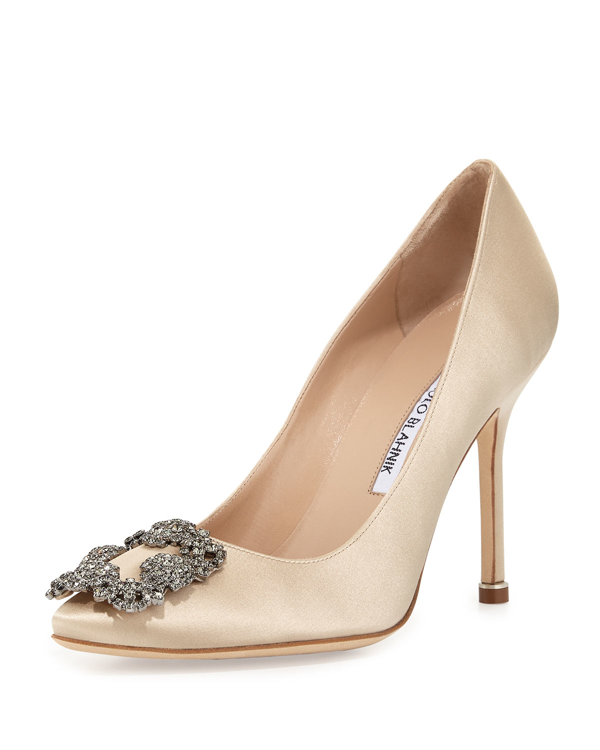 Manolo blahnik hangisi crystal buckle satin 105mm pump in for Who is manolo blahnik