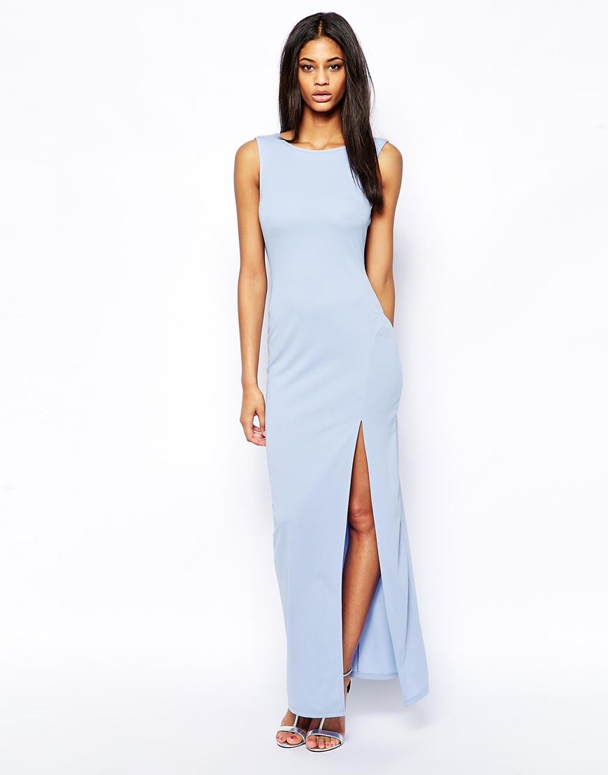 asos cowl back maxi dress in blue lyst. Black Bedroom Furniture Sets. Home Design Ideas