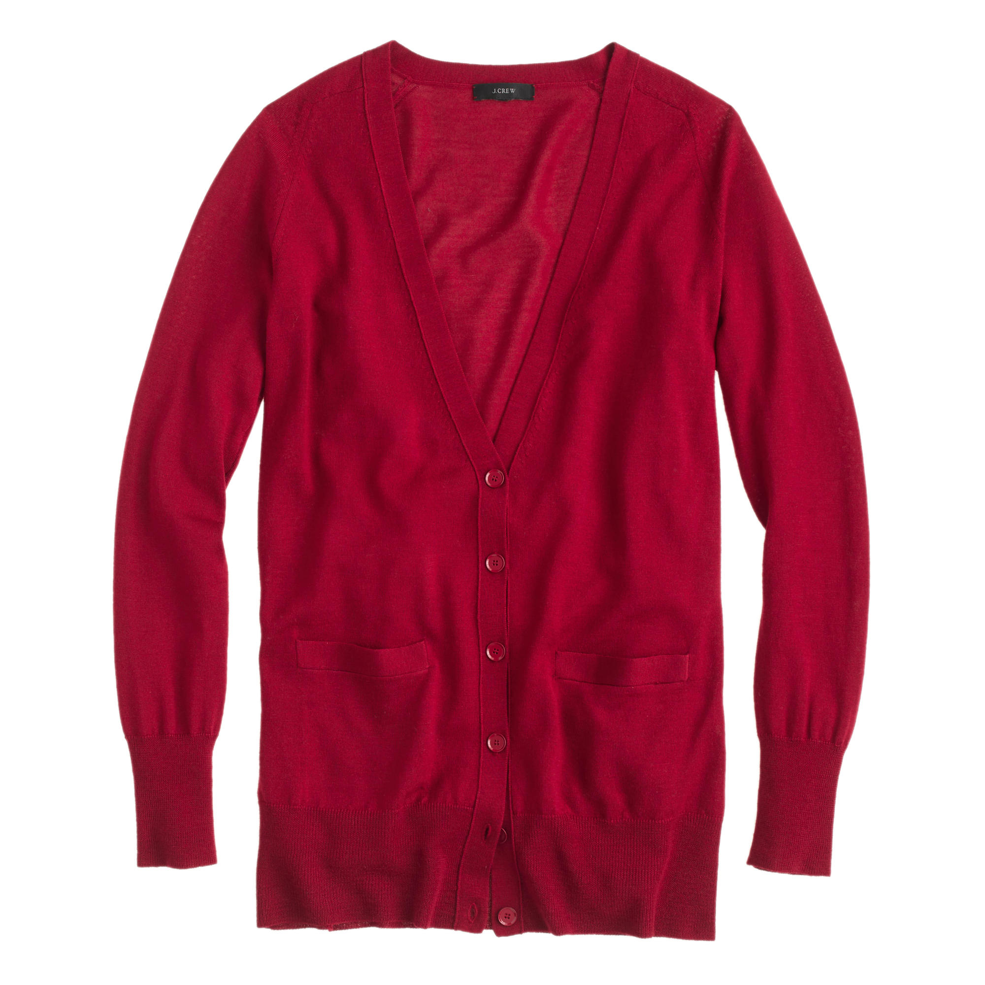 J.crew Classic Merino Wool Long Cardigan Sweater in Red | Lyst