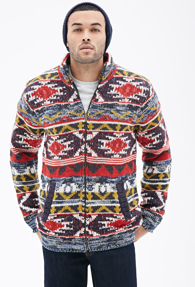 Forever 21 Southwestern Patterned Sweater-jacket in Red for Men | Lyst