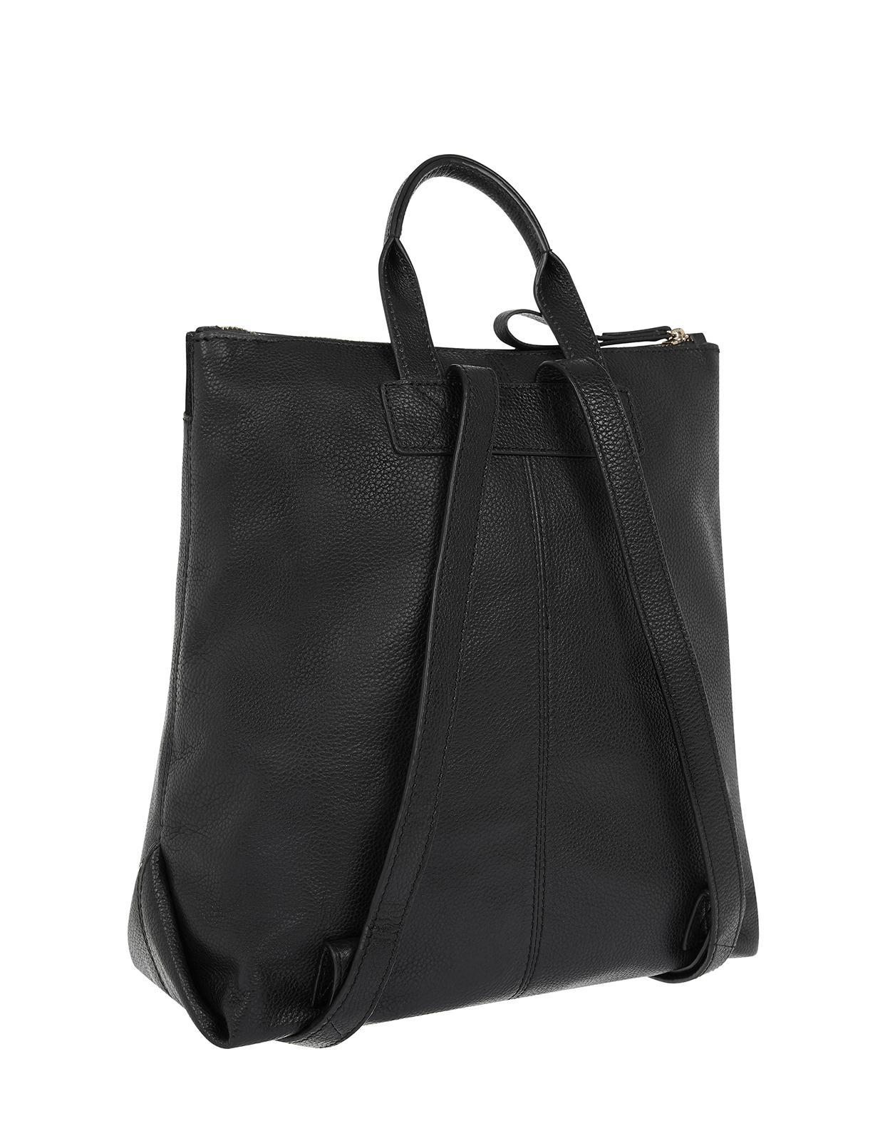 8753f835e7e2 Accessorize Ashton Ziptop Leather Backpack in Black - Lyst