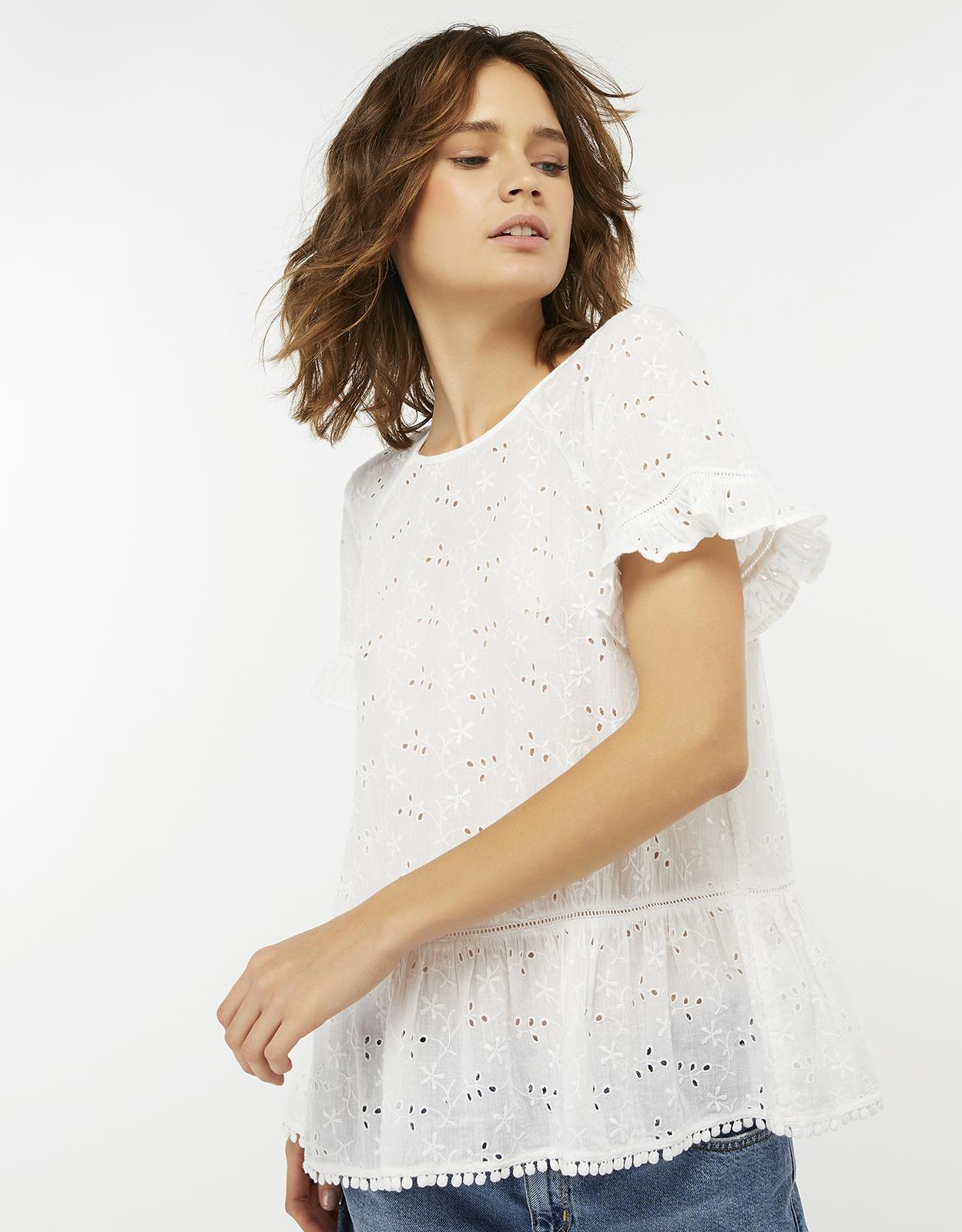 dd5b103a20 Accessorize Schiffli Cutwork Cotton Top in White - Lyst