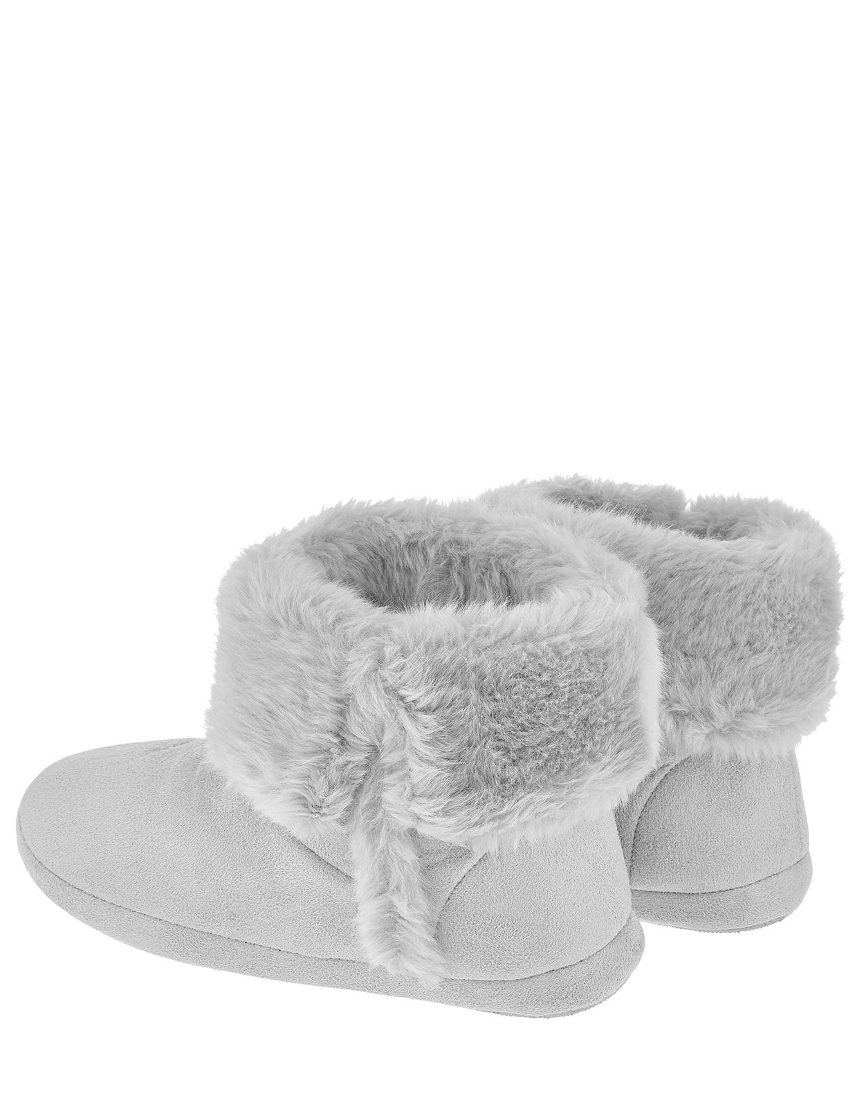 Accessorize Suedette Slipper Boots in Grey (Grey)
