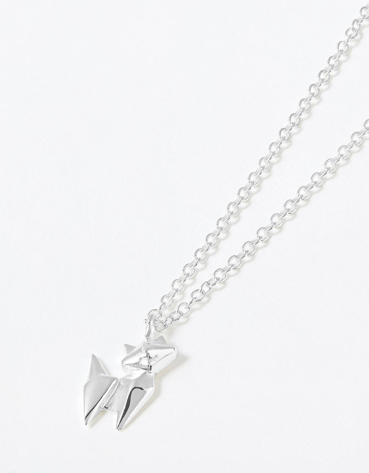 Accessorize Sterling Silver Origami Cat Necklace in st Silver (Metallic)