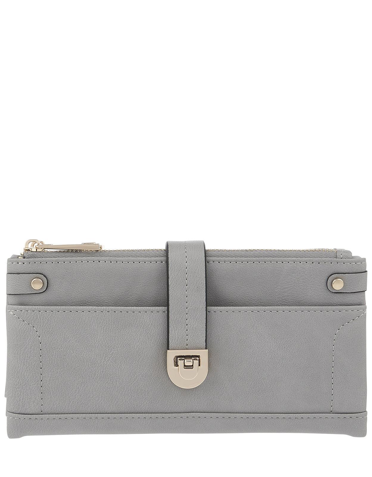 c4957a607 Accessorize Foldover Flip-lock Wallet in Gray - Lyst