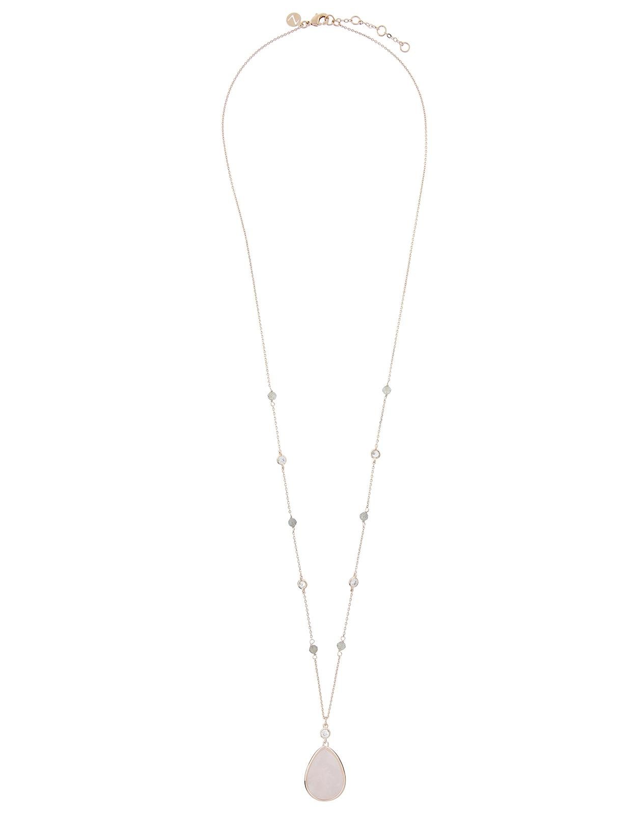 Accessorize Rose Gold Eliza Semi Precious Long Pendant Necklace in Pink