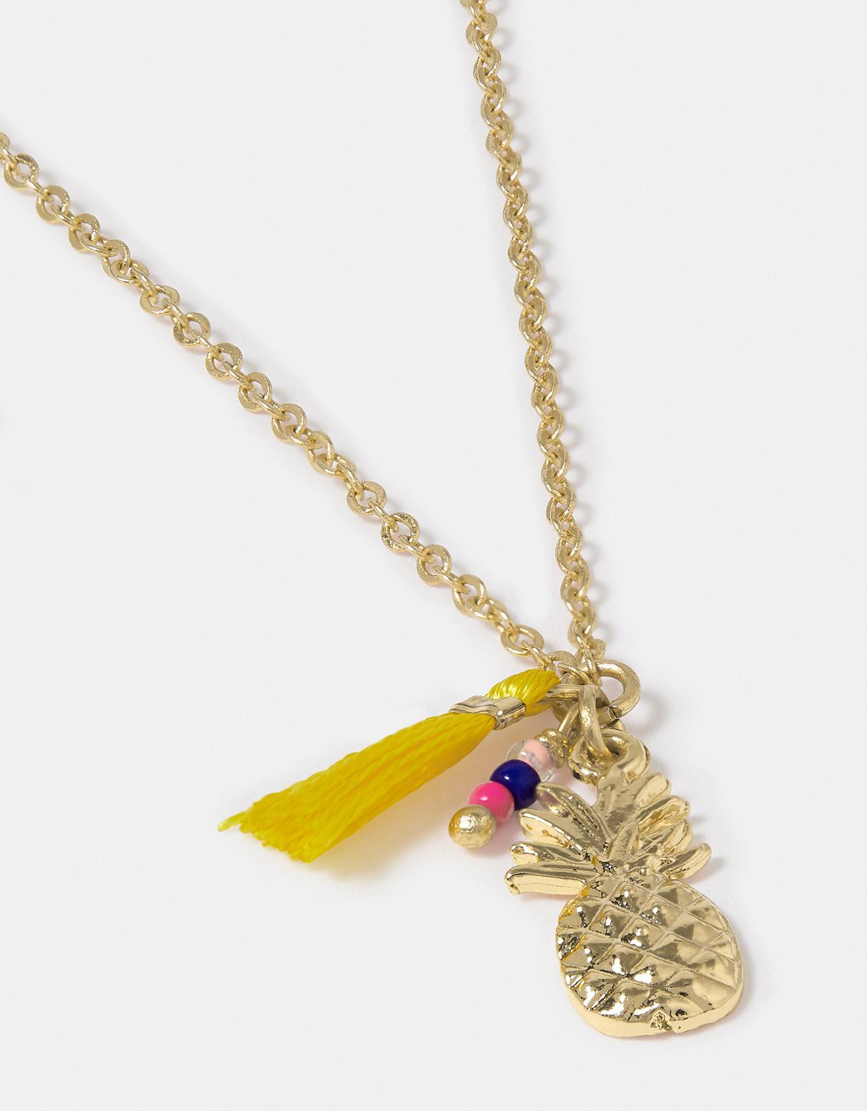 Accessorize Cutesy Pineapple Pendant Necklace in Gold (Metallic)