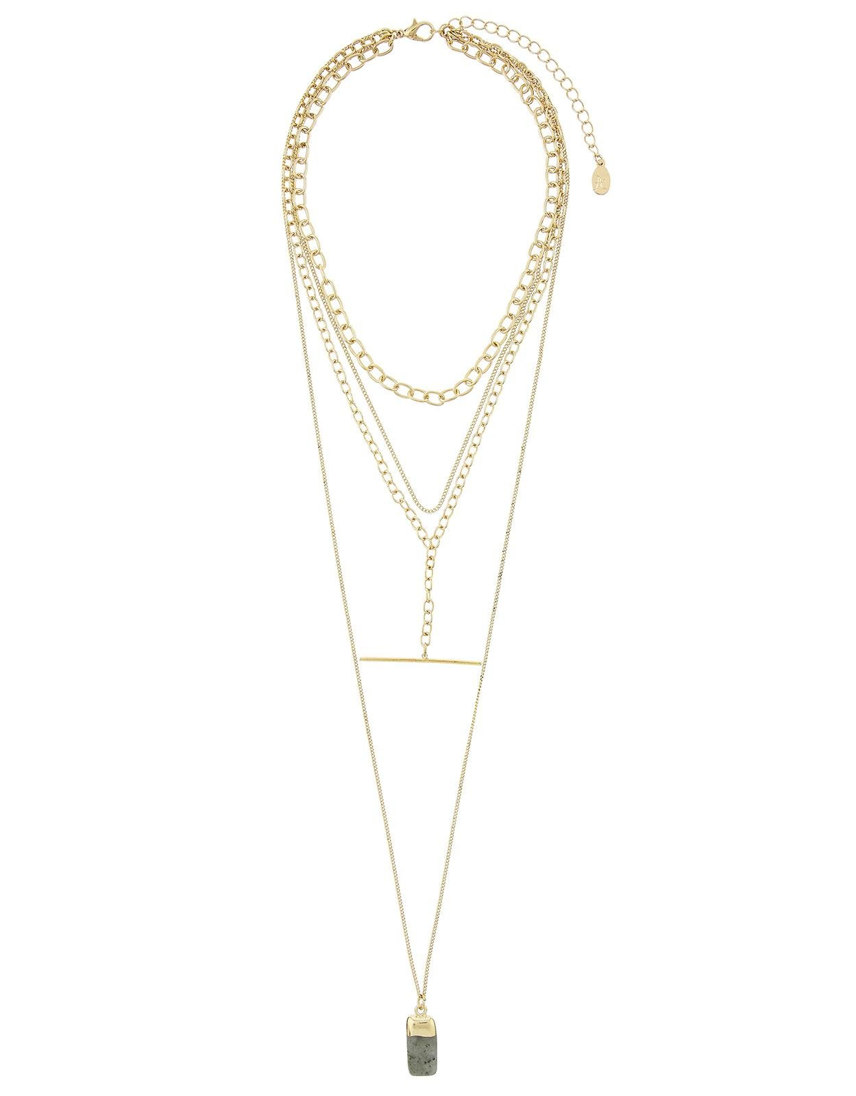 Accessorize Layered T Bar Long Pendant Necklace in Gold (Metallic)