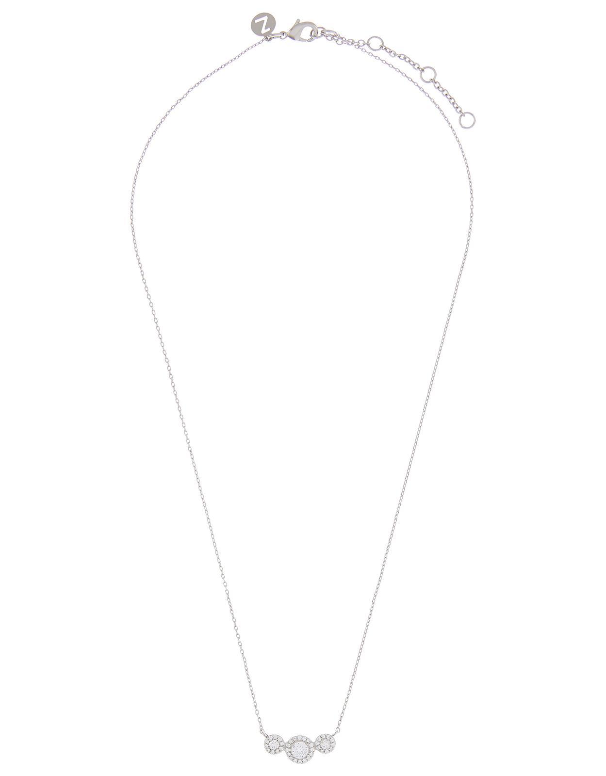 Accessorize Platinum Megan Sparkle Bar Necklace in Crystal (Metallic)
