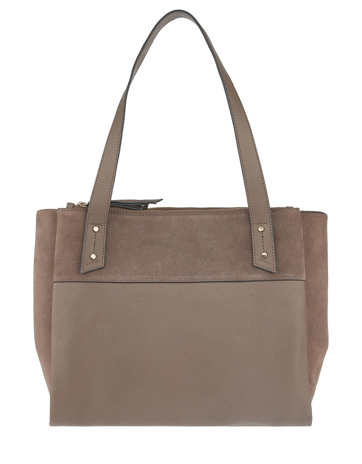 e324a6d973 Accessorize Drew Double Zip Leather Work Bag in Brown - Lyst