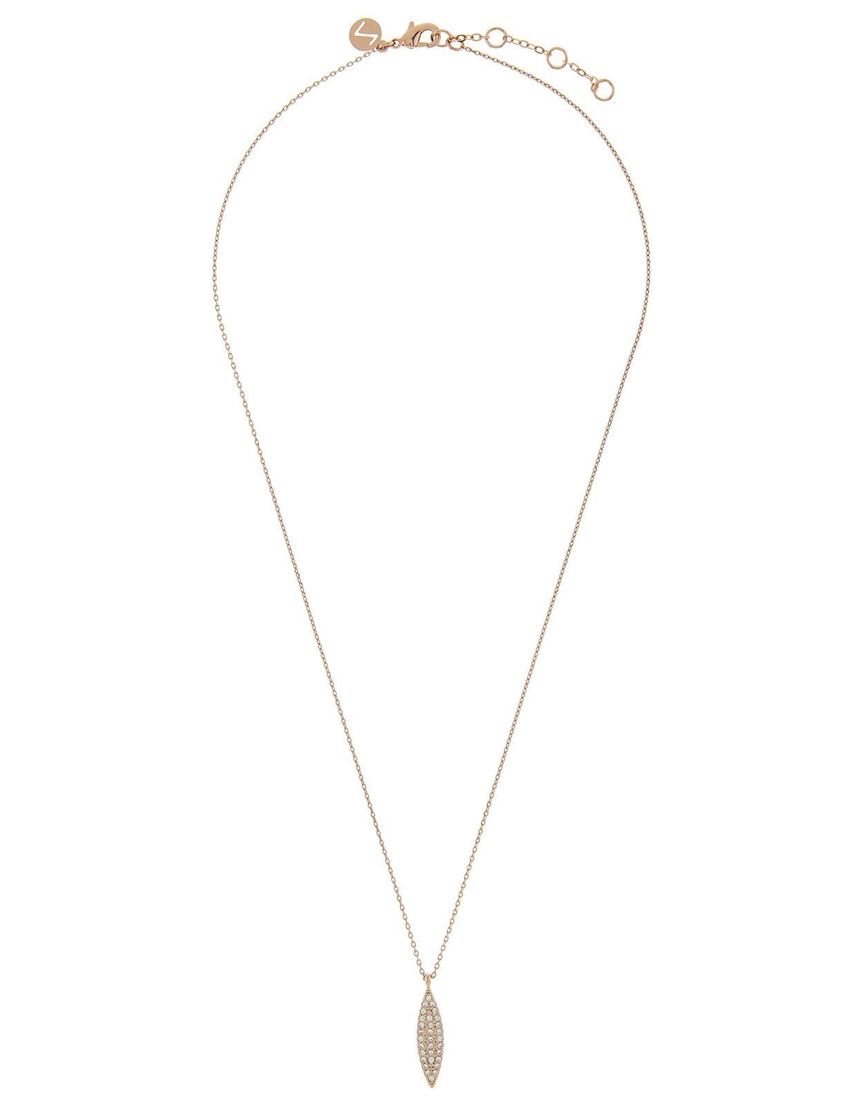 Accessorize Elise Teardrop Pendant Necklace in Rose Gold (Metallic)