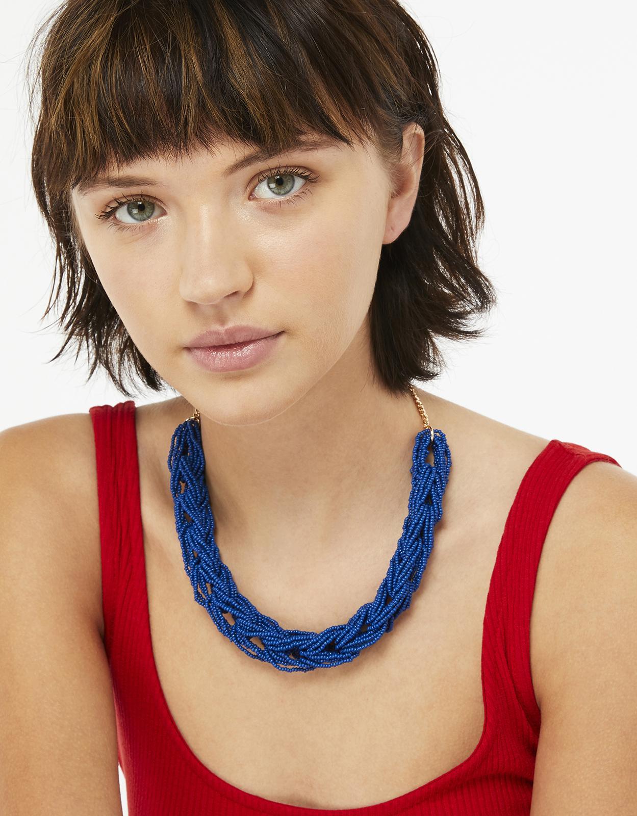 Accessorize Block Seedbead Link Necklace in Blue