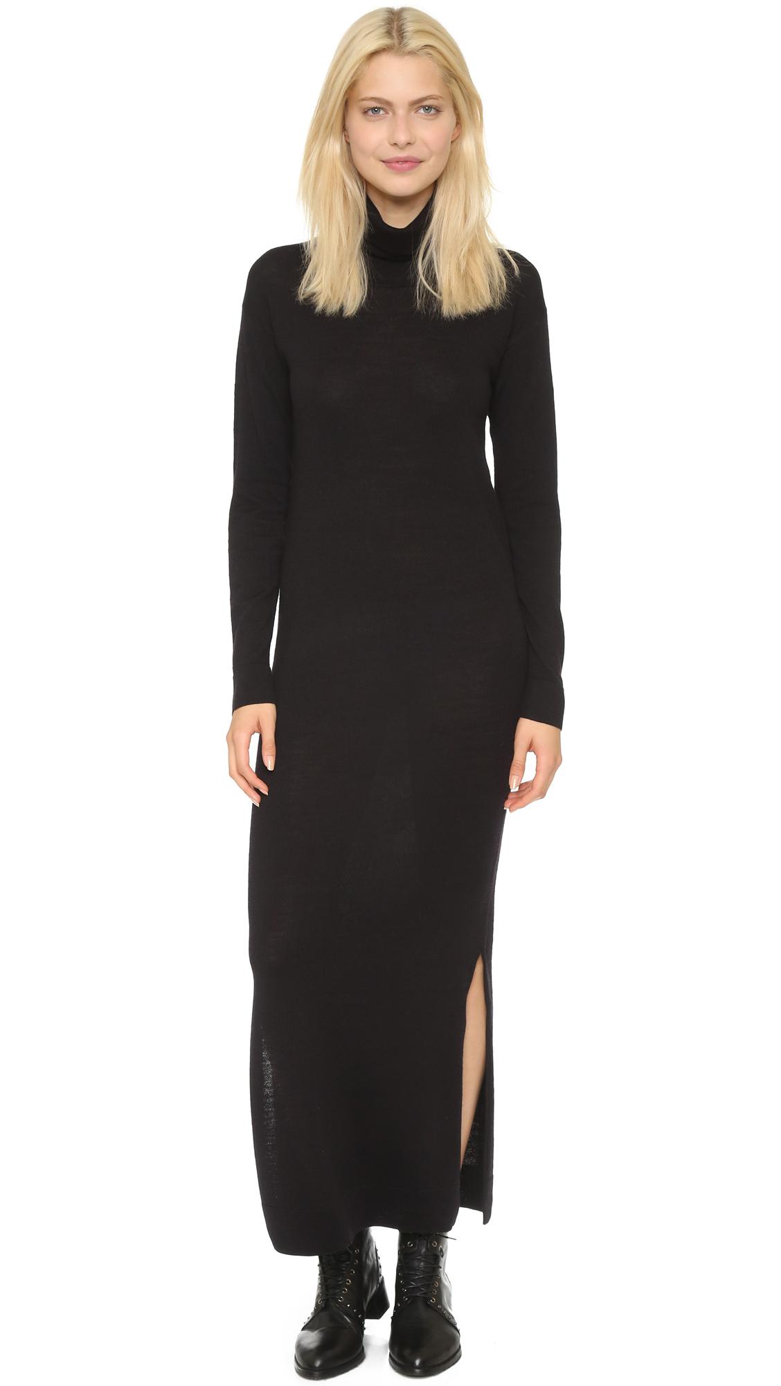 Black Sweater Maxi Dress - Sweater Vest