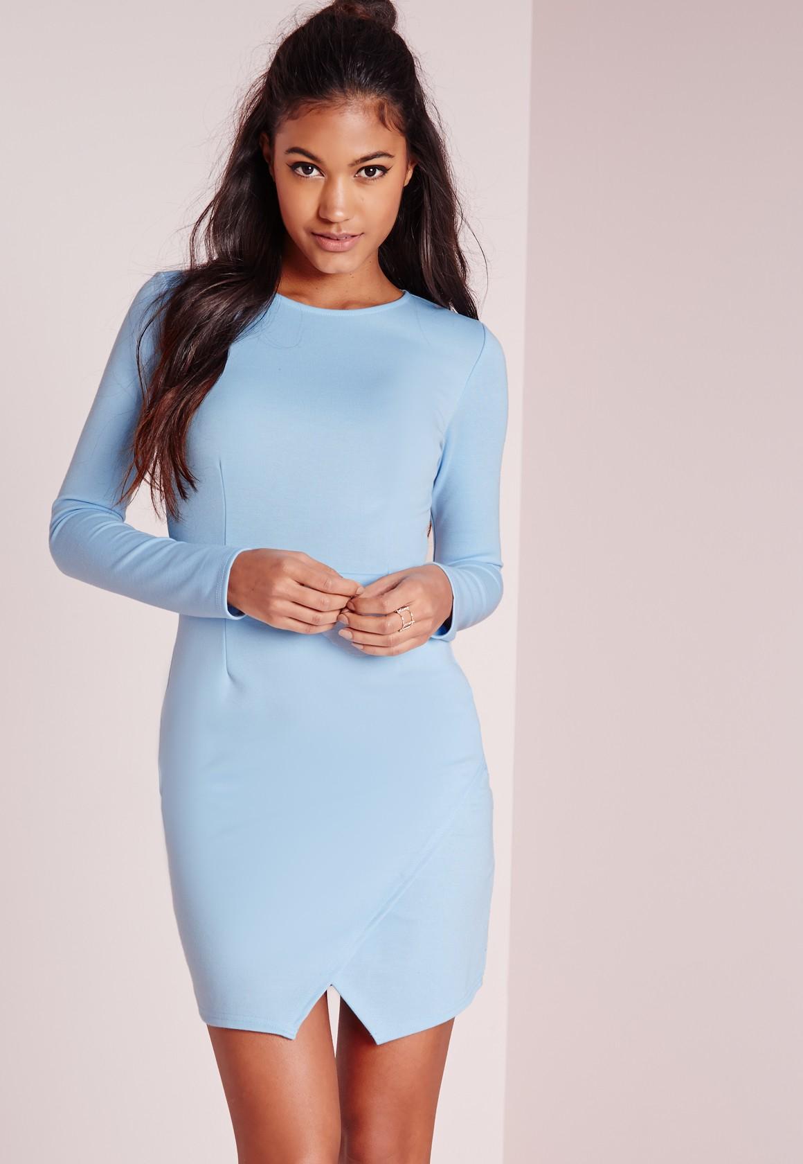 1d290d3b24b7 Missguided Long Sleeve Wrap Hem Bodycon Dress Powder Blue in Natural ...