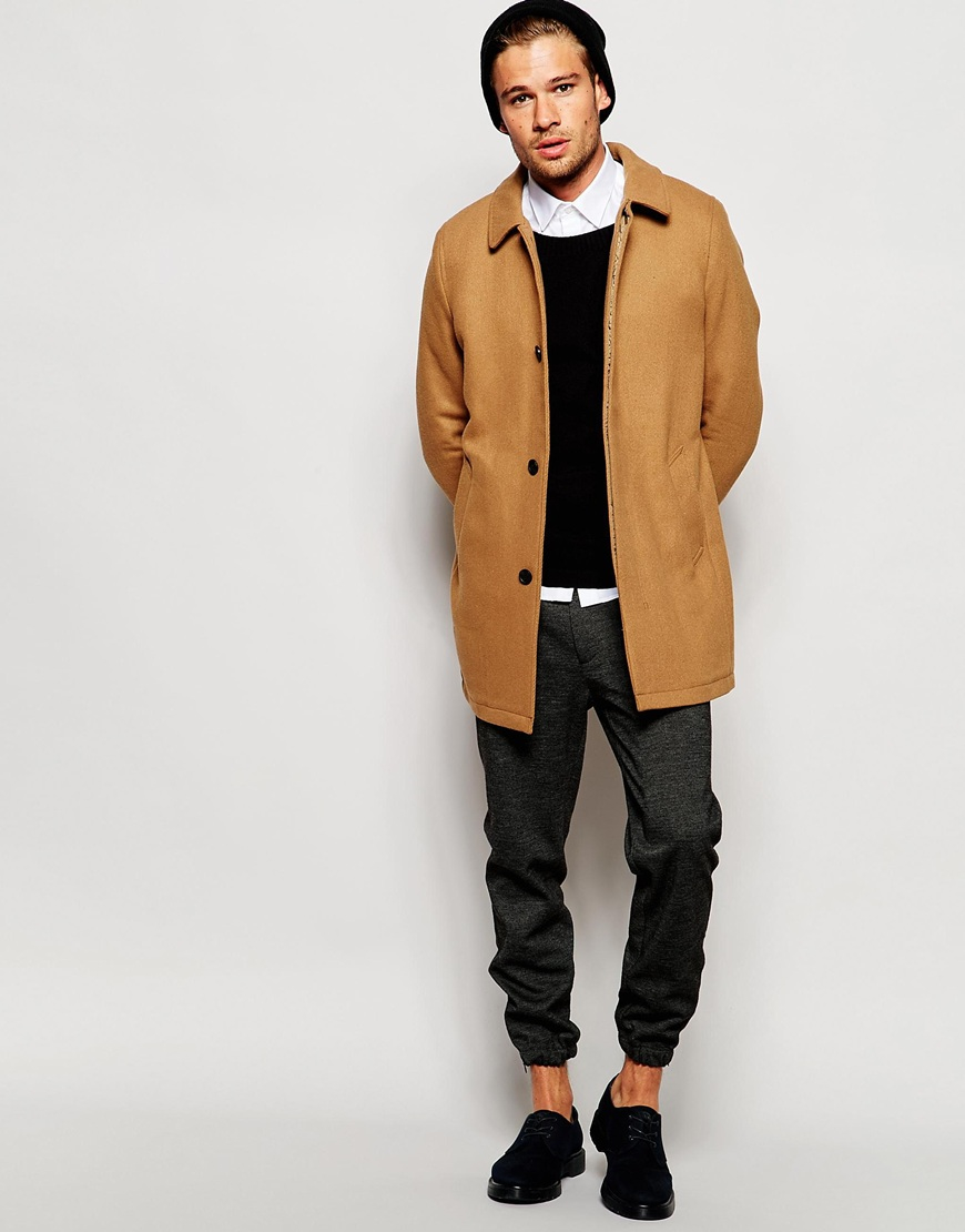 Selected Unstructured Wool Overcoat in Natural for Men | Lyst