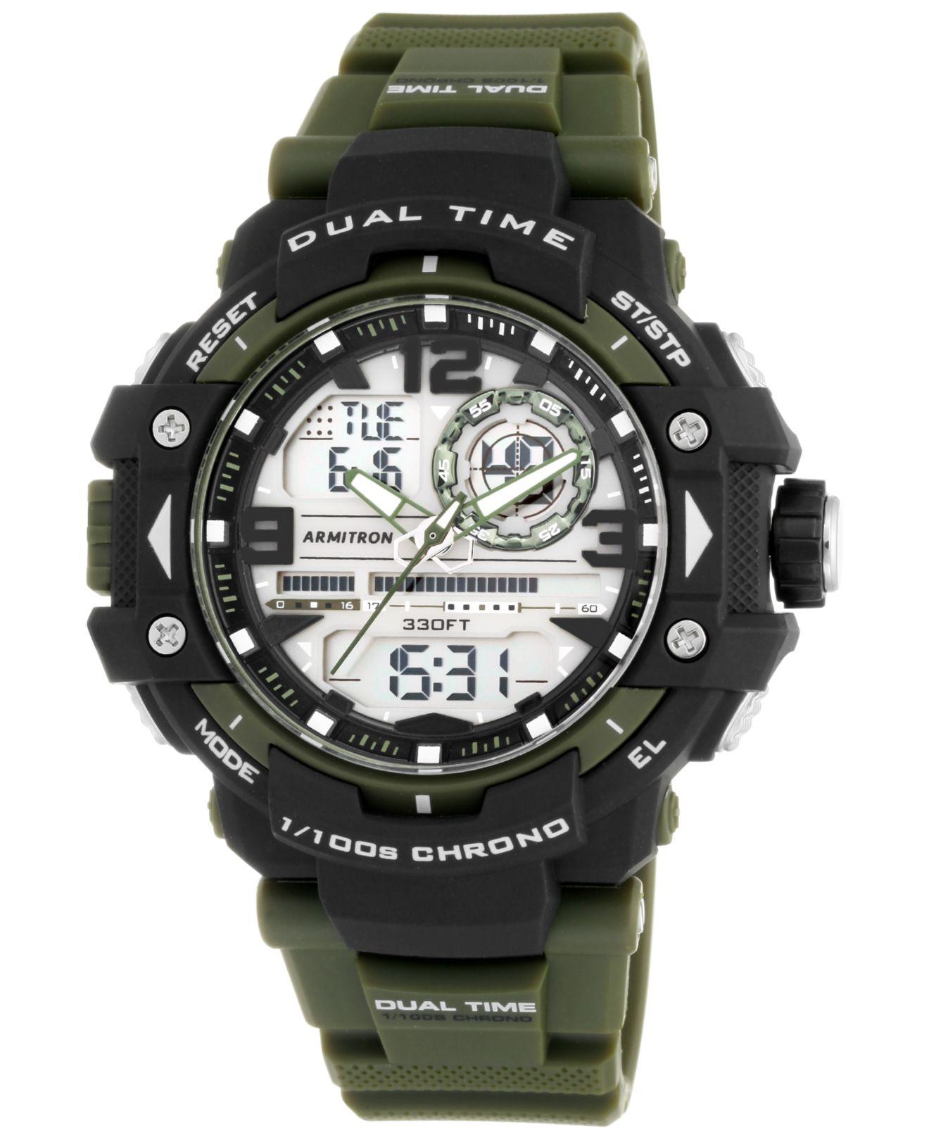 armitron s analog digital chronograph green resin