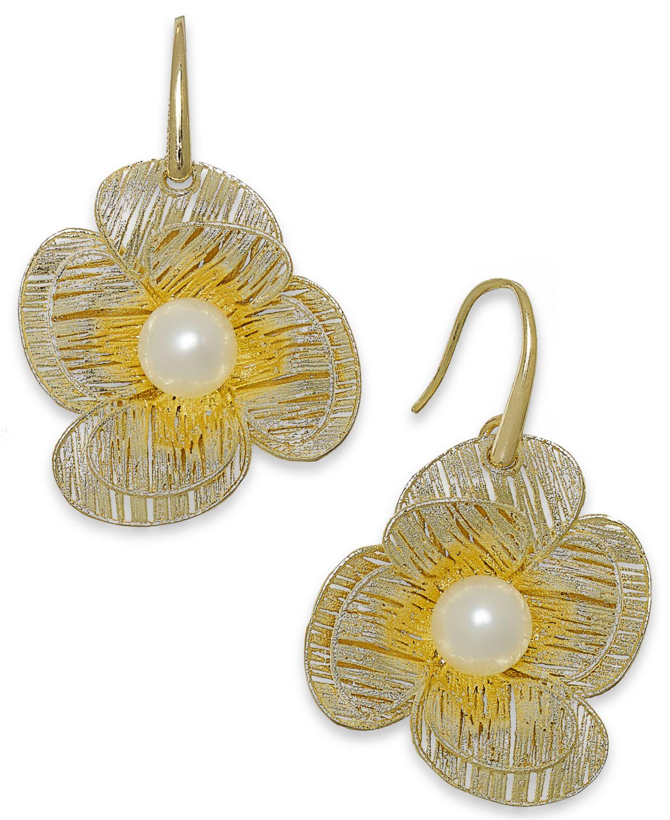 Macy's Us | Cultured Freshwater Pearl Flower Earrings In 18k Gold Over ...
