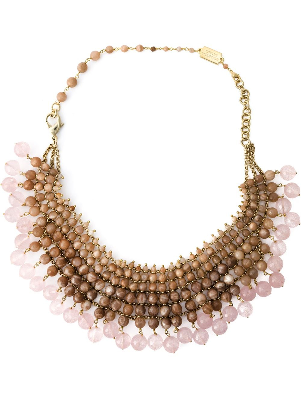 rosantica beaded collar necklace in pink pink purple