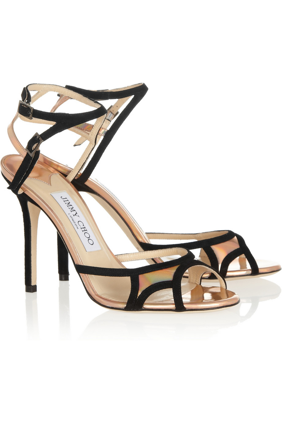10685cc3f043 Lyst - Jimmy Choo Rocks Suede and Holographic Leather Sandals in Black