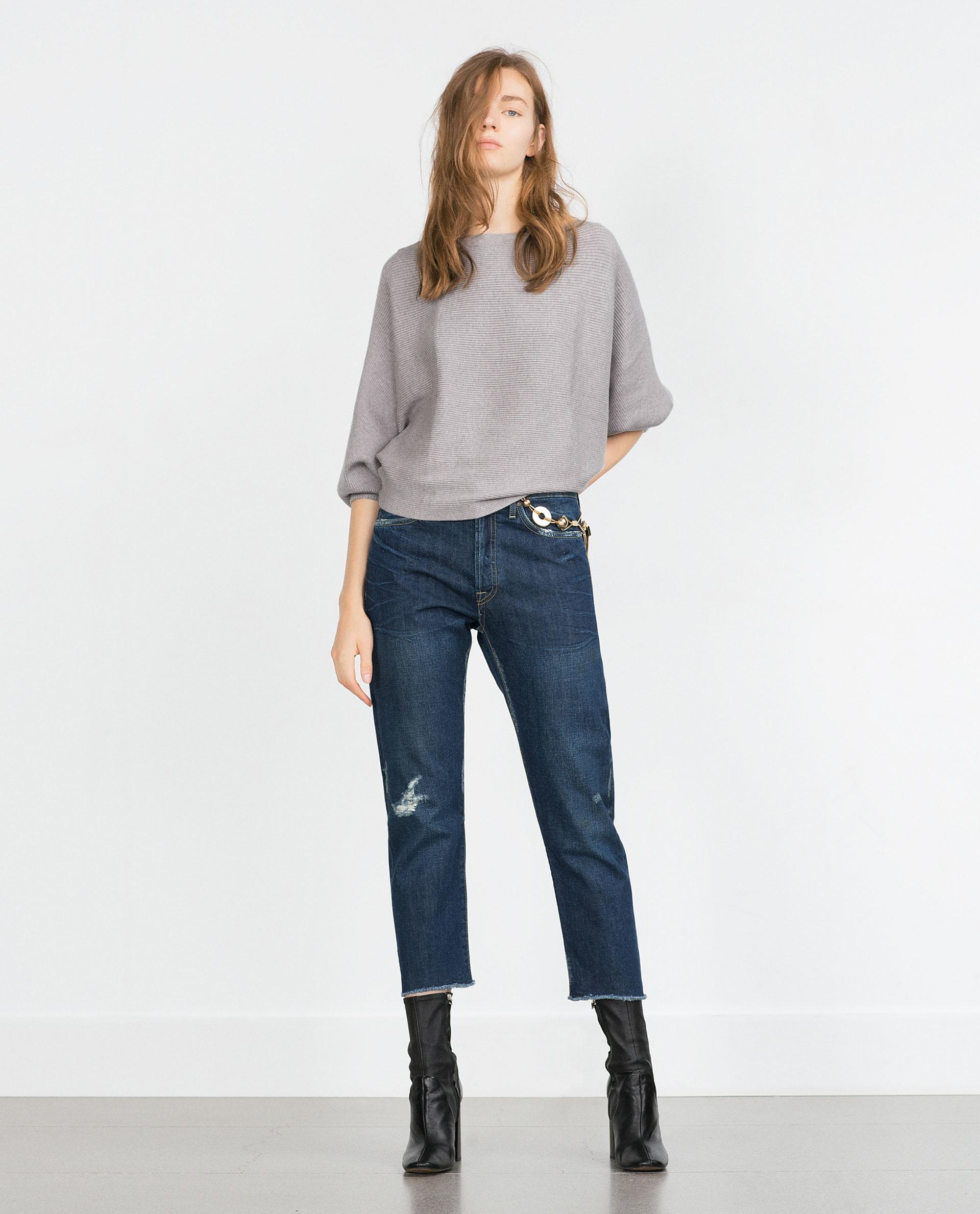Zara Batwing Sleeve Sweater In Gray Lyst