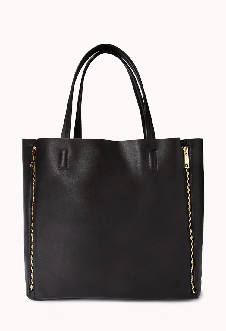 Forever 21 Sleek Faux Leather Zipper Tote In Black Lyst