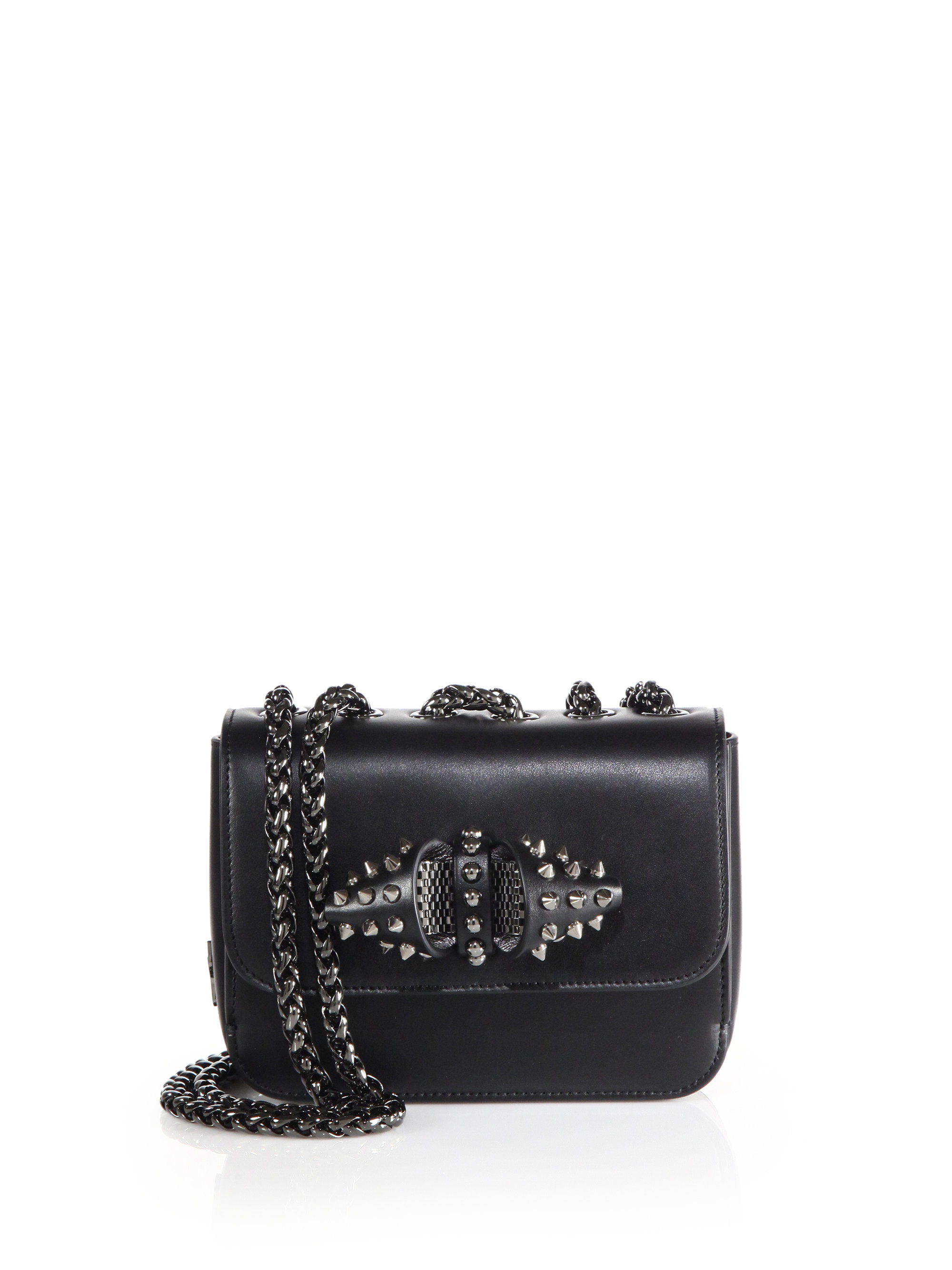 2123150b640 Christian Louboutin Black Sweet Charity Baby Spiked Leather Chain Crossbody  Bag