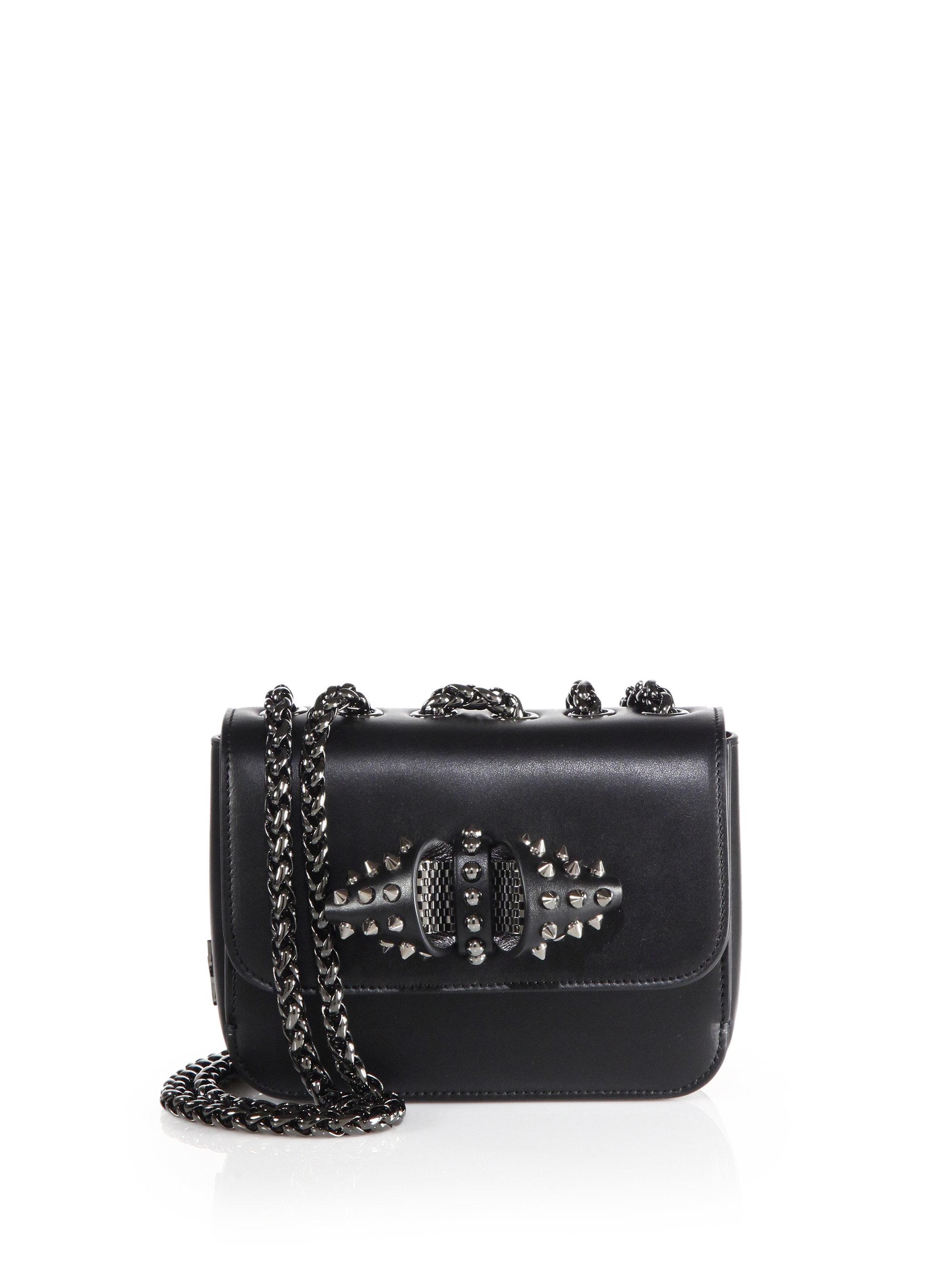 b1b0c2dc526 Christian Louboutin Black Sweet Charity Baby Spiked Leather Chain Crossbody  Bag