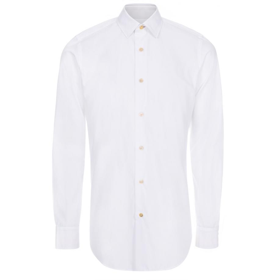 Paul smith men 39 s white stripe cuff cotton shirt in white for Mens white cufflink shirts