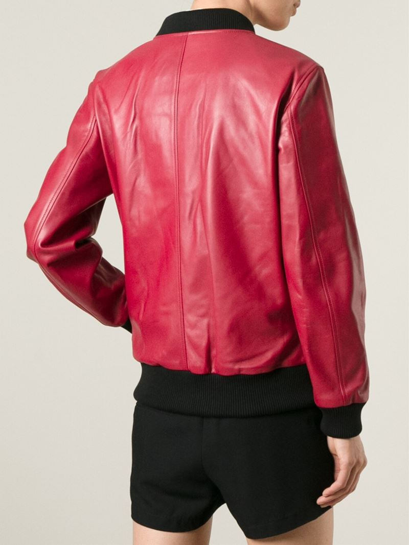 Dolce & gabbana Leather Bomber Jacket in Red | Lyst