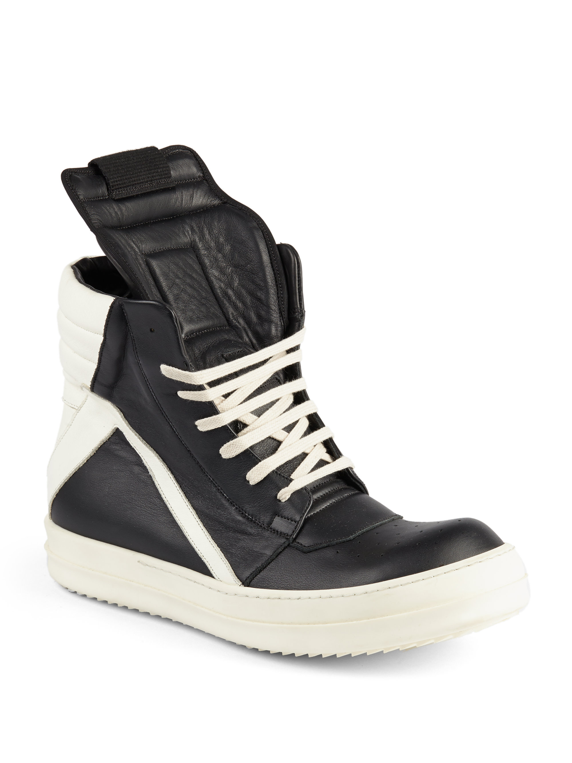 Rick Owens & Off- Leather High-Top Sneakers DxIsJ3