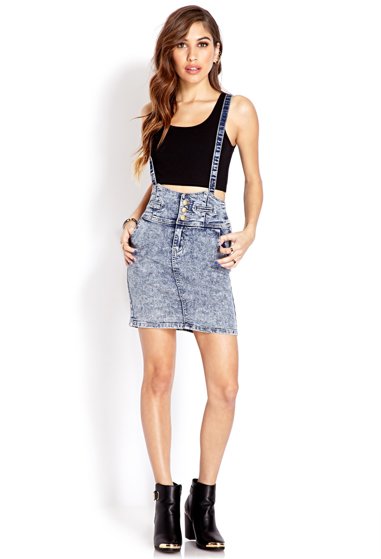 Forever 21 Acid Wash Overall Skirt in Denim Washed (Blue ...