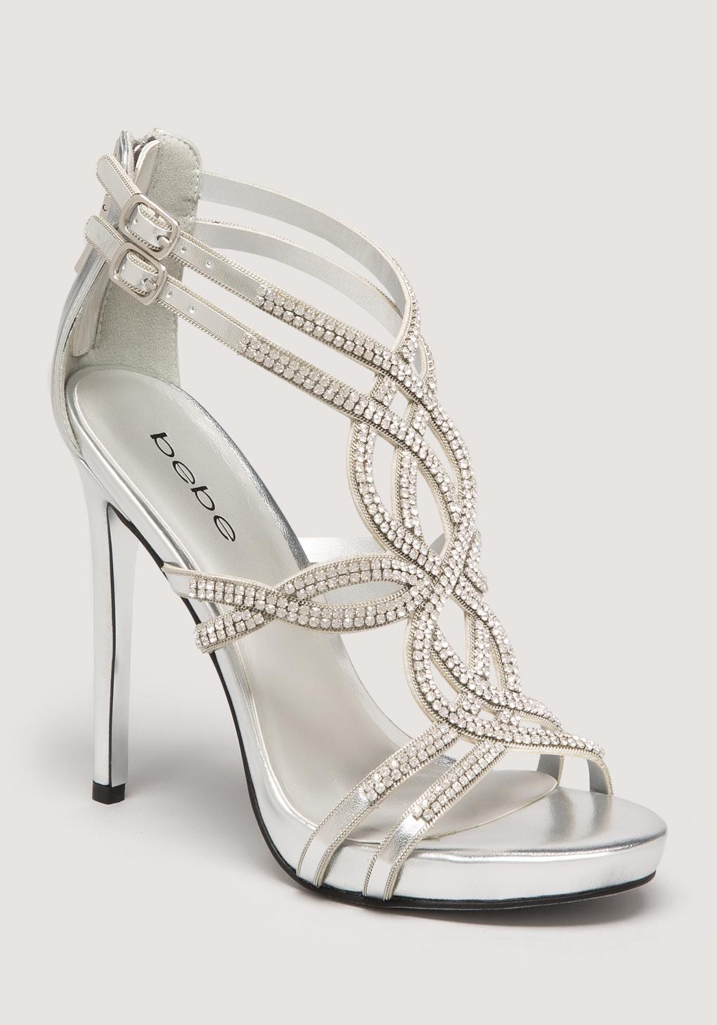 bee944355e8 Bebe Tamia Jewel Strappy Sandals in Metallic - Lyst